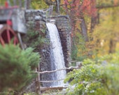 Autumn fine art photography dreamy landscape photo fall New England large wall art home decor green grey red gristmill waterfall rustic
