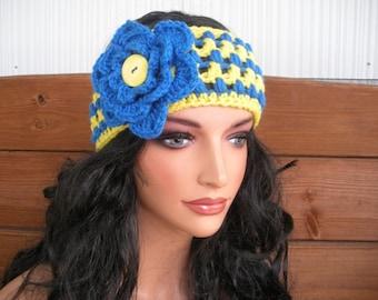 Womens Headband Crochet Headband Winter Fashion Accessories Women Headwrap Earwarmer in Yellow with Blue stripes and flower