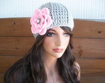 Womens Hat Crochet Hat Winter Fashion Accessories Women Beanie Hat Cloche in Light gray with Light pink Crochet Flower
