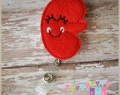 Kynnedy the Kidney - Red - Felt Badge Reel - Nephrology Nurse Renal Care Retractable ID Badge Holder - Embroidered