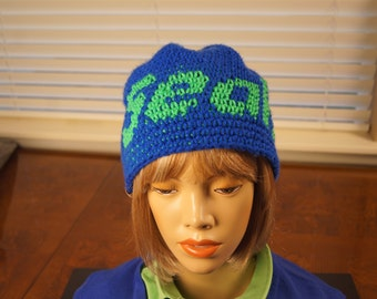 Seattle Seahawks beanie hat bright blue with neon green lettering