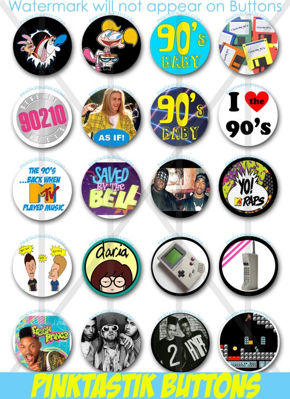 20 Totally Awesome 90s Pin Back Buttons Theme Party