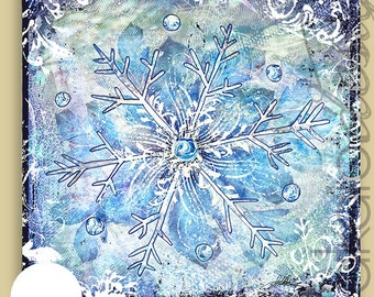 Winter Snowflake Mixed Media Gallery Wrapped Canvas