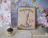 Vanilla 10c Sign/Print for Dollhouse