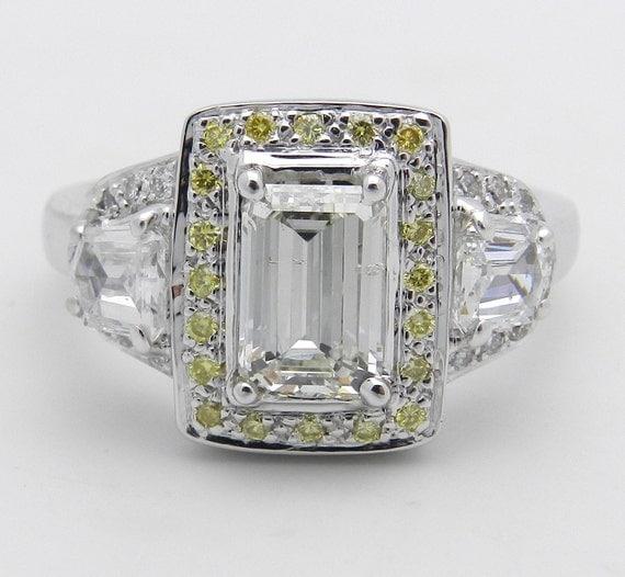 2.09 Emerald Cut Diamond Halo Engagement Ring Size 7.25 Canary Diamonds 18K White Gold