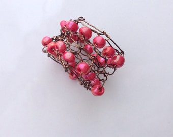 Beaded Statement Ring Red Coral Bronze Knitted Wire Henna