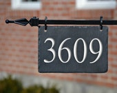 HANGING House Numbers Mailbox Lamppost (Carved Stone ) Address plaque