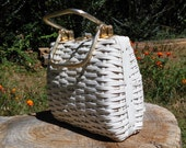 Vintage 50s Woven White Basket Purse