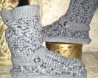 "Classic ""Shades of Grey"" Tweedy Crochet Sweater Boots size Medium(7-8.5) ""4in1"" style: Slouchy, Ankle Boots, Cuffed, Straight"