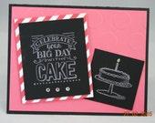 Handcrafted Bright Chalkboard Birthday Cake Card