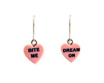 CLEARANCE 50% OFF - Bite Me Dream On Valentine's Day Conversation Heart Earrings - Cute Gift Idea
