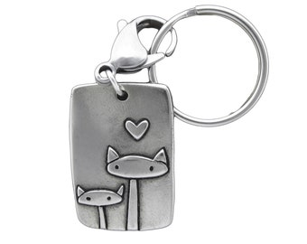 Cat Family Key Chain - White Bronze Cat Key Ring
