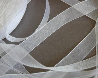 """5yds - 5/8"""" White Organza Ribbon"""