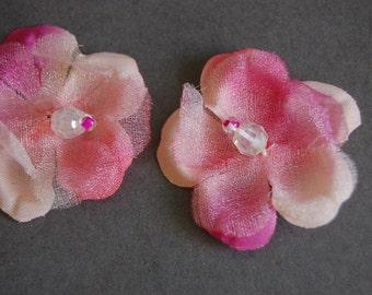 2pc Die Cut Organza Beaded Flowers