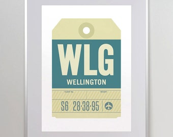 Wellington, New Zealand, WLG. Luggage Tag Poster. Baggage Tag Print. Travel Poster. Airport Code. A3. 11x14.