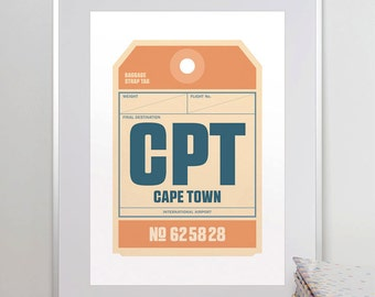 Cape Town, South Africa, CPT. Luggage Tag Poster. Baggage Tag Print. Travel Poster. Airport Code. Aviation Art. A3. 11x14.