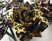 6 Duct Tape Flower Animal Print Bouquet in Vase