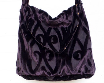 Gothic Boho Bag Purse Black Cut Velvet Slouchy Bag