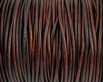 2mm Natural Antique Brown Round Leather Cord - Distressed Matte Finish - 15 Feet