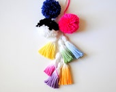 Pom/Tassel Cluster - Banner Add on - Dip dyed Tassels and handmade yarn poms