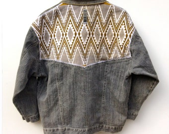 Womens Jean Jacket Upcycled With Vintage Guatemalan Tribal Embroidery