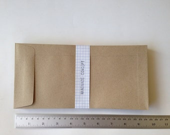 25 Brown Kraft Open End Envelopes (Long Size 11.40 x 23.50 cm.or 4 1/2 x 9 1/4 inches)