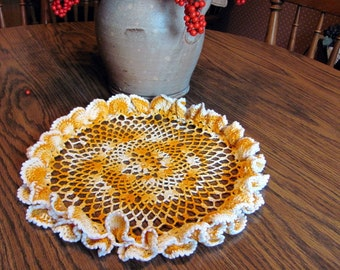 """Crochet Doily / Vintage Gold Variegated 12 """" Doily with a Scalloped Edge"""