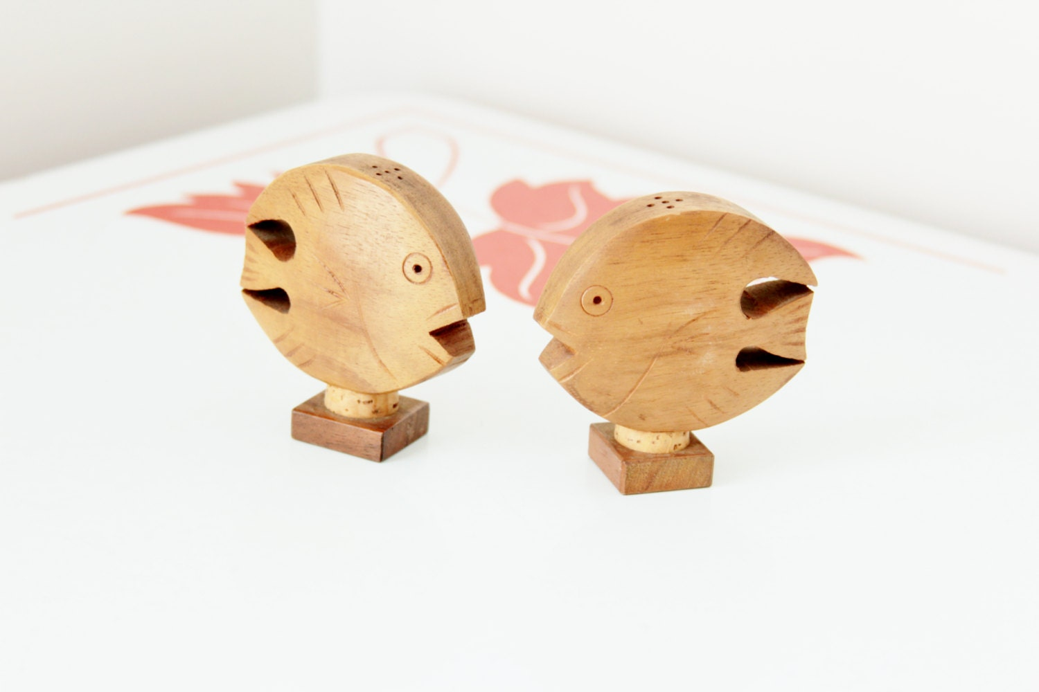 Vintage Wooden Fish Salt And Pepper Shakers By