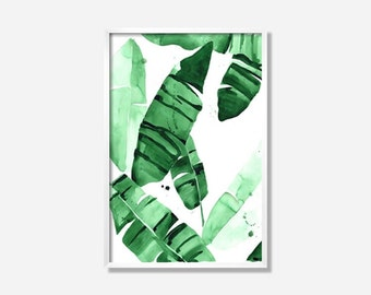 """20 x 30 """"Beverly IV"""" Tropical Banana Green Palm Leaves Watercolor Giclee Fine Art Print Poster"""