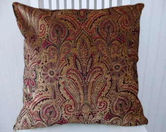 Brown Red Paisley Decorative Pillow- 18x18 or 20x20 or 22x22-Pillow Covers- Accent Pillows, Throw Pillow Cover