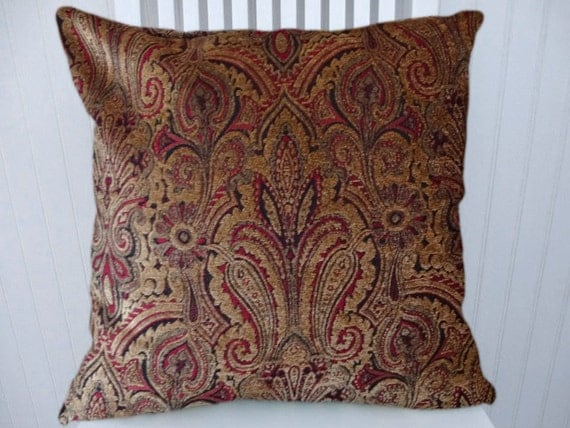 brown red paisley decorative pillow 18x18 or 20x20 or