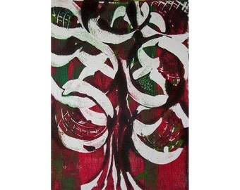 Fall Tree 2 Original Monoprint Abstract Acrylic Painting 5x7 Red Green White Dark
