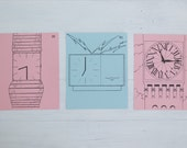 vintage french flash cards, watches and clocks