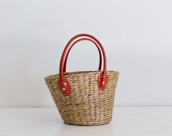 vintage wicker tote, carry all, handbag