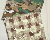 SET of 2 - Boys- FLANNEL  BLANKETs -  Camouflage Print and Plaid with deer Print 15b2