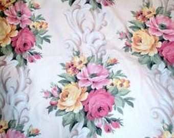 Vintage Barkcloth Glencourt Like Pink Cabbage Roses Fabric 58 x 36