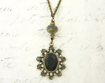 Matte Black Pendant with Gray Clear Rhinestones Victorian Gothic Antique Bronze Drop Necklace |NK-NBY1-12