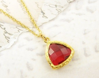 Ruby Red Necklace Red Drop Faceted Triangle Stone Gold Frame Pendant Charm |RJ1-13