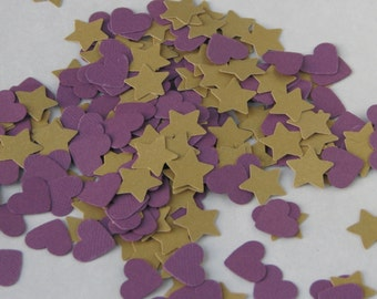 CLEARANCE - Confetti hearts and stars 250 pcs - gold shimmer purple -  cardboard party wedding scrapbook crafts