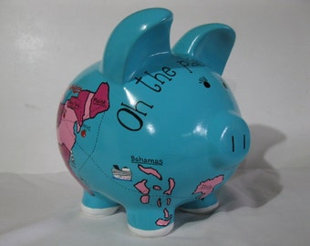 Map piggy bank, Personalized, Handpainted, Travel Map Piggy - Where Do You Want To Go - MADE TO ORDER