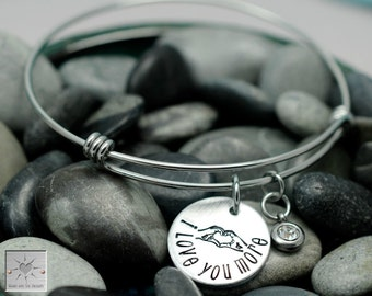 Personalized Bracelet - Love You More - Expandable Bangle Bracelet - Hand Stamped Jewelry - Hand Heart - Claddagh - Valentine's Day Gift
