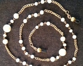 Eyeglass Holder  Lanyard, Ivory colored beads. on gold toned chain.