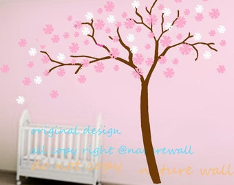 kids wall decals cherry blossom decals floral sticker kids wall decals  white girl wall art- Cherry Blossom vines