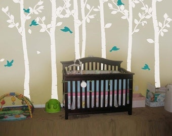 Tree Decals Kids wall decals white baby decal nursery decal room decor wall decor wall art birch decals-birds in Birch forest