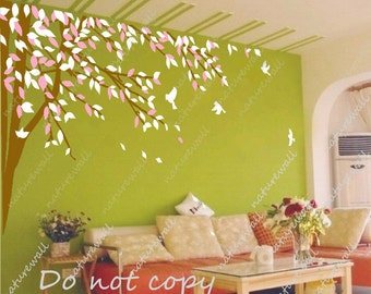 Tree wall decals Kids decals baby nursery room decor pink white nature girl wall decor wall art living room bedroom-lovely tree with birds