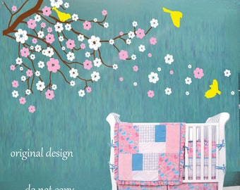 Cherry blossom wall decals baby nursery  tree decals kids flower floral nature wall decor wall art- Cherry Blossom Tree