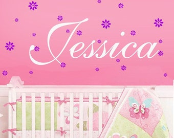 Kids wall decals-Girls Name with flowersVinyl Wall Decal -Childrens Wall Decal -Nursery Wall Decal -baby wall sticker-Personalized