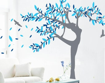 Tree wall stickers wall decals baby nursery decal room decor wall decor murals graphic- wisdom female tree with birds