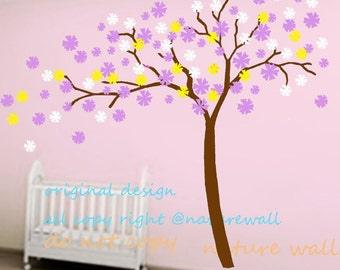 kids wall decals cherry blossom decals floral sticker kids wall decals  girl wall art- Cherry Blossom vines