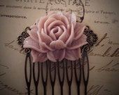 Pink Wedding Hair Comb Rose Blush Bridal Head Piece Pastel Pink Big Flower Comb Bridesmaids Gift Large Floral Comb Shabby Chic Statement